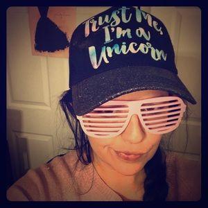 """Trust me I'm a unicorn"" trucker hat"